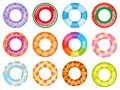 Rubber swimming ring. Pink lifesaver, summer swimming pool floating rings. Rainbow rescue ring top view cartoon vector