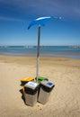 Rubbish bin eccologycally sorted on the Italian beach Royalty Free Stock Photo
