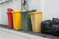Rubbish bin green open lid at outdoor Royalty Free Stock Photo