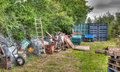 Rubbish in garden a pilled up Royalty Free Stock Photography