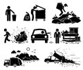 Rubbish trash garbage waste dump site cliparts icons a set of human pictogram representing and thrown by irresponsible people it Royalty Free Stock Photo