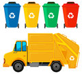 Rubbish truck in yellow color and four trashcans Royalty Free Stock Photo