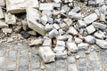 Rubble bricks and on a cobbled road Stock Image