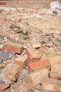 Rubble and bricks a pile of discarded house Royalty Free Stock Photo