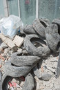 Rubble and old tires from demolition as sign of urban renewal Stock Images