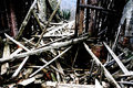 rubble and the ruins of the house  destroyed by powerful earthqu Royalty Free Stock Photo