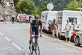 Ruben plaza molina climbing alpe d huez france july the spanish cyclist from movistar team the difficult road to Royalty Free Stock Photos