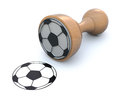 Ruber stamp with soccer ball Stock Photos