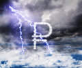 The ruble currency symbol in the stormy skies with lightning str rain and strikes default Stock Photo