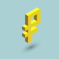 Ruble sign cubes form, isometric russian currency sign, vector illustration