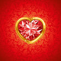 Ruby heart in golden frame Royalty Free Stock Photography