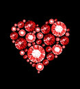 Ruby heart made of gems isolated on black Royalty Free Stock Images