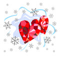 Ruby hearts and snowflakes Royalty Free Stock Photo