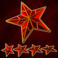 Ruby star set Stock Photography