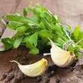 Rucola and garlic Royalty Free Stock Photo