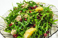 Rucola salad mix with chicken pomegranate orange and letuce Royalty Free Stock Images