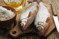 Rudd ide fresh fish on a wooden table Stock Image