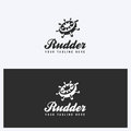 Rudder, Helm Logo Design Template. Sailing, Nautical Theme. Simple and Clean Style. Black and White Colors.