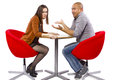 Rude date interracial couple on a bad Royalty Free Stock Images