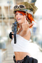 Rude defiant army girl. Military woman with gun. Royalty Free Stock Photo