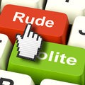 Rude impolite computer means insolence bad manners meaning Stock Photography