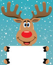 Rudolph deer holding blank paper for your text Stock Image