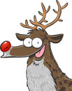 Rudolph the red nosed reindeer cartoonish vector illustration of Stock Photos