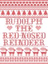 Rudolph the red-nosed reindeer Scandinavian seamless pattern inspired by nordic culture festive winter in cross stitch Royalty Free Stock Photo