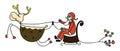 Rudolph santa sleigh christmas cartoon hand drawn Royalty Free Stock Photo