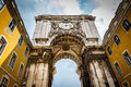 Rue augusta arch on commerce square in lisboa portugal Stock Image