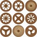 Ruedas de madera Imagenes de archivo