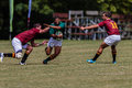 Rugby action of st teams high school players of mature young men between paul roos gymn and glenwood boys high school at the Royalty Free Stock Image