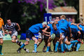 Rugby action of st teams play moments of mature young men between nico malan high school and selborne college at the kearsney Stock Images
