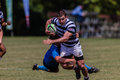 Rugby action of st teams play moments of mature young men between nico malan high school and selborne college at the kearsney Stock Photography