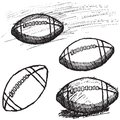 Rugby American Football sketch set isolated on white background