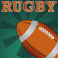 Rugby ball on abstract special green background Stock Image