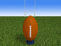 Rugby ball on a grass d render Royalty Free Stock Photos