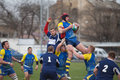 Rugby european nations cup match ukraine odessa teams of ukraine moldova april stadium spartak Royalty Free Stock Photography
