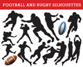 Rugby and football silhouettes Stock Photography