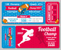 Rugby, football sports ticket card vector retro design Royalty Free Stock Photo