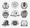 Rugby logo vector colorful set, Football badge logo template Royalty Free Stock Photo
