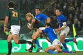 Rugby match Italy vs South Africa - tackle Stock Photos