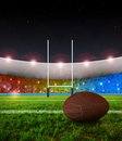 Rugby penalty kick - Night Royalty Free Stock Images