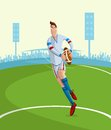 Rugby player cartoon style in vector Royalty Free Stock Photography