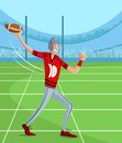 Rugby player cartoon style in vector Royalty Free Stock Images
