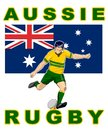 Rugby player kick Australia flag Stock Images