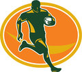 Rugby Player Running Ball Silhouette Stock Photos