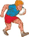 Rugby Player Running With Ball Woodcut Stock Images