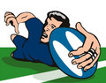 Rugby player scoring a try on Stock Image
