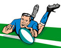 Rugby player scoring a try Royalty Free Stock Image
